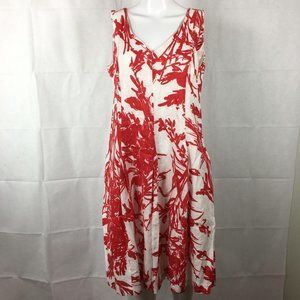 Coldwater Creek Linen White Red Floral Dress 14P